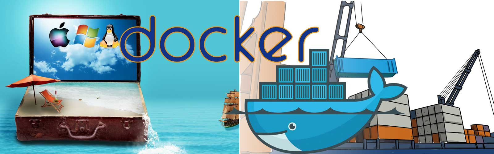 docker logo over surrealist background