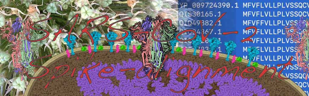 Spike protein sequence alignment in an artistic illustration