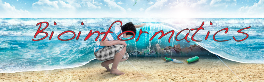 Bioinformatics title image. A boy appears to lift an ocean wave to discover hidden items