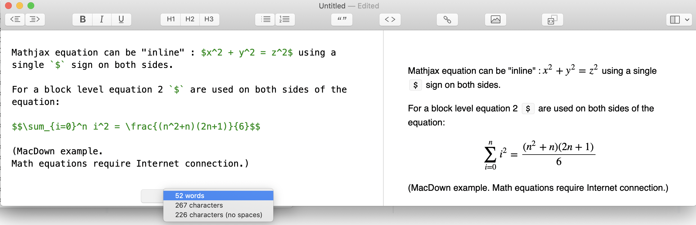Markdown MathJax Equation