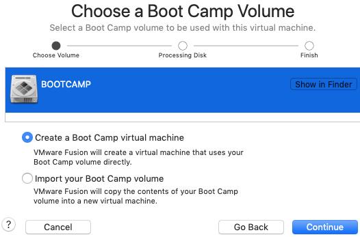 selecting BootCamp for VMWare virtual windows
