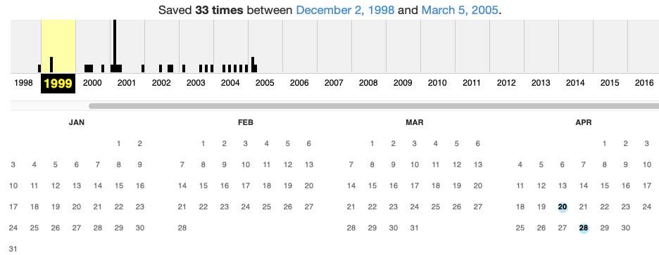 Way Back Machine Calendar